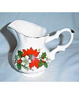 Vintage Small Christmas Bone China Pitcher Christmas Flowers ROC - $14.99