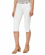LEE Platinum Womens Sz 8M Striped Belt Storm Wash White Capri Pants 6768-3 - $23.14