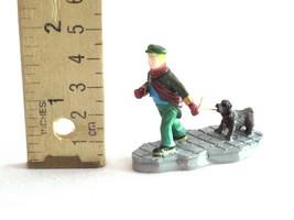 "Lemax Christmas Village Figure Figurine Boy Pulling Walking Puppy Dog 1.75"" - $8.99"