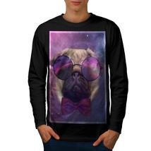 Cosmic Glasses Pug Tee Space Dream Men Long Sleeve T-shirt - $14.99