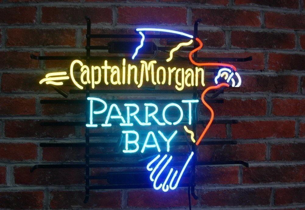 "New Captain Morgan Parrot Bay Rum Beer Bar Real Glass Neon Sign 24""x20"""