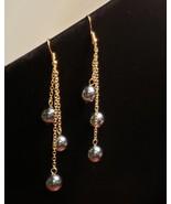 Triple Drop Dangle Black Pearl earrings - $22.00