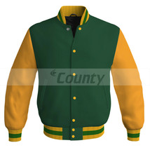 New Letterman Baseball College Bomber Jacket Sports Forest Green Golden ... - $49.98+