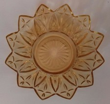 "Federal Pressed Depression Glass Yellow 5"" Candy Dish Nut Berry Dessert ... - $14.01"