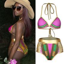 Women's Push Up Padded High Waist Ethnic Print Bikini Swimwear Set image 11