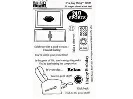 """Raisin Boat Stamps """"It's a Guy Thing"""" Clear Cling Stamp Set #10041"""