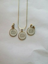 Vintage Gold Tone and White Monogram Necklace and Matching Earrings - $18.80