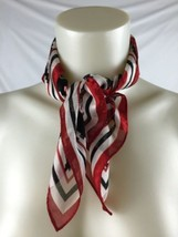 "20"" Square Scarf Red White Black Oversized Pixel Design Worthington Poly... - $9.80"