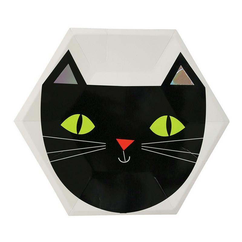 8 Pcs Halloween Party Disposable Paper Plates Tableware Plate Pumpkin Witch Cat