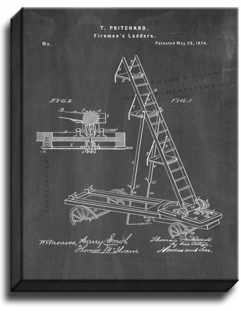 Primary image for Firemen's Ladders Patent Print Chalkboard on Canvas
