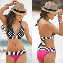 Sexy Stripe Fringe Dotted Low Waist Two Piece Bikini - $16.00