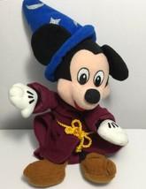 "Disney Fantasia Sorcerer Mickey Plush 9"" Stuffed Animal Bean Bag Toy Wizard image 1"