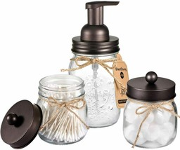 3 Piece Bathroom Set Soap Dispenser Modern Shabby Chic Mason Jar Farmhou... - $39.95