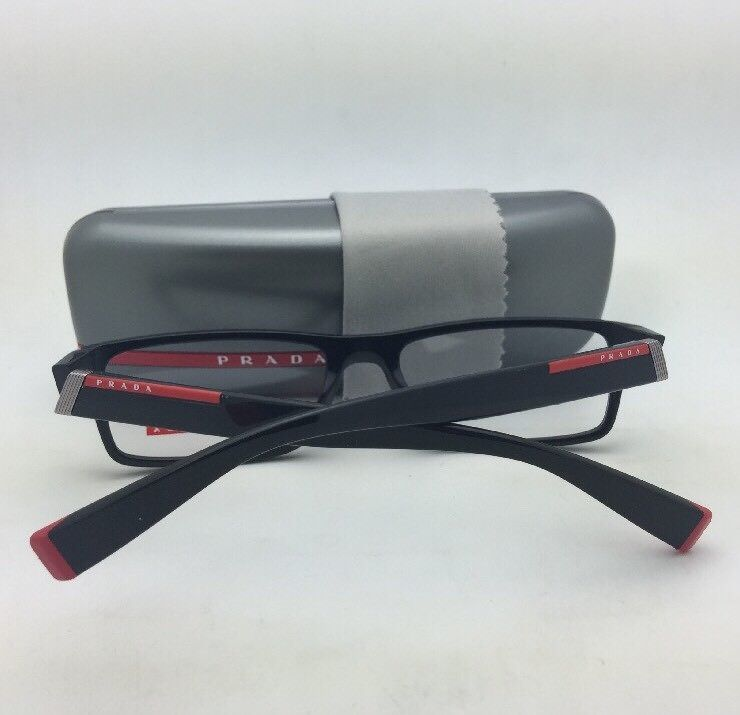 ca79b3bd358b ... New PRADA Eyeglasses VPS 03C 1AB-1O1 54-17 140 Rectangular Black and  Red ...