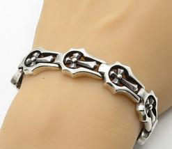 WTS 925 Silver - Vintage Religious Cross Hinge Link Chain Bracelet - B6888 - $167.46