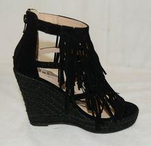 BF Betani Shiloh 8 Black Fringe Wedge Heel Sandals Size 5 And Half image 6