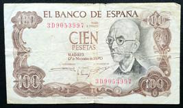 1970 SPAIN 100 PESETAS BANK NOTE  - $3.58