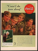 Vintage magazine ad COCA COLA from 1942 picturing 4 WWII soldiers and Sp... - $12.99