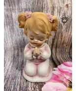 Lefton VTG Ceramic Adorable Girl Figurine Praying In Her Pink Nightgown - $9.59