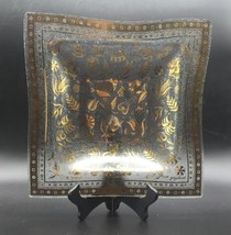 """MCM Georges Briard Persian Gardens Glass Dish 9.75"""" Square Clear Gold VT... - $21.34"""
