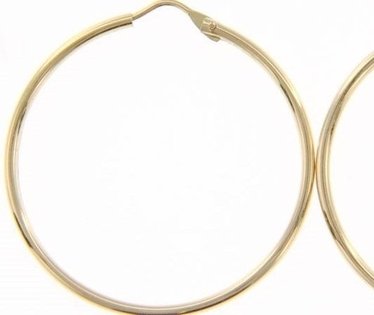 18K YELLOW GOLD ROUND CIRCLE EARRINGS DIAMETER 30 MM WIDTH 1.7 MM, MADE IN ITALY