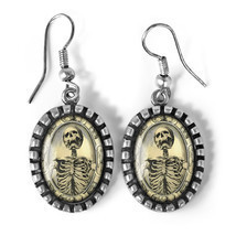 Gothic Memento Mori Victorian Skeleton Silver Horror Halloween Glass Ear... - $338,88 MXN