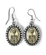 Gothic Memento Mori Victorian Skeleton Silver Horror Halloween Glass Ear... - $22.47 CAD