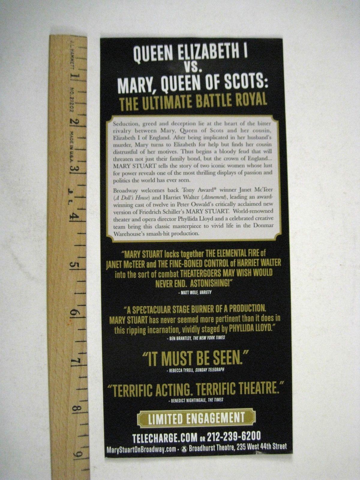 Mary Stuart Playbill 2009 Broadhurst Theatre Ticket Janet McTeer Harriet Walter