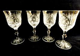 Set of 4 VTG American Brilliant Cut Crystal Cocktail Glasses Stemware Go... - $43.76