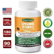 Liposomal Vitamin C 1200mg 180 Capsule 90 Serving Non GMO Vitamin C Natural Vega image 1