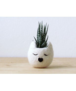 Cat planter / Small pot for succulents / white Cat head planter / Felt s... - $24.00