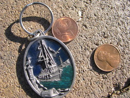 VTG Keychain Keyring FOB Pewter Licensed FISHING BOAT 1996 - $29.68