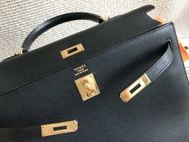 100% Authentic HERMES Black KELLY BAG GHW image 8