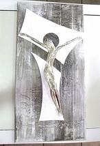 "HANDMADE BIG PANEL WALL CRUCIFIX, PAINTED WOOD, STYLIZED CHRIST, 23.6"" ITALY image 1"