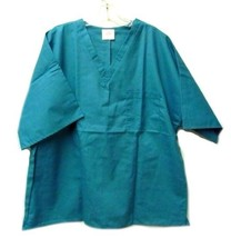 Teal Green Chest Pocket V Neck Scrub Top 4XL PRN Uniforms Unisex 0725 US... - $17.61
