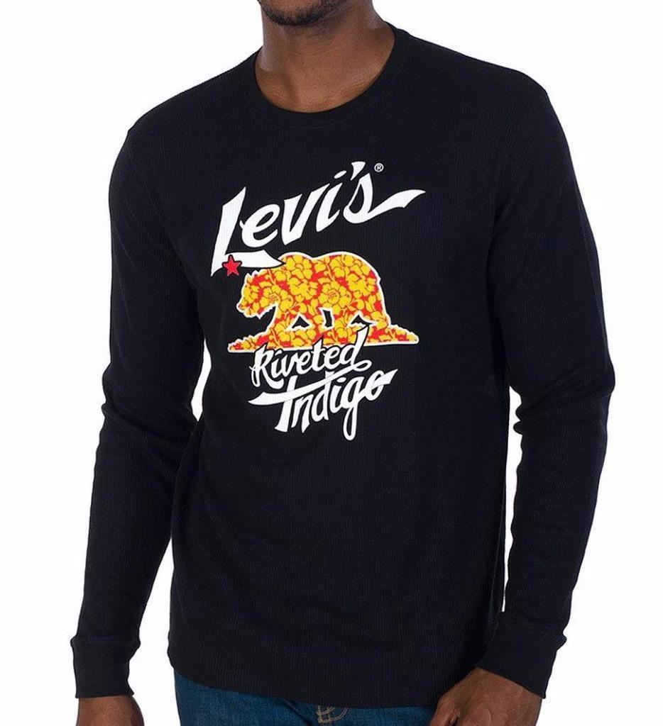 NEW LEVI'S MEN'S PREMIUM CLASSIC LONG SLEEVE GRAPHIC CREW THERMAL BLACK 117058