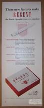 Regent Cigarettes '40s PRINT AD smoking New Features advertisement clipp... - $9.74