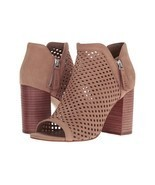 Guess Oana Perforated Leather V-Throat Peep-Toe Booties, Sizes 7.5-11 Taupe - $99.95
