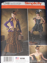 Steampunk Costume Skirt Corset Jacket size 6-12 Simplicity 1248 Sewing P... - $9.40