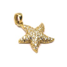SOLID 18K ROSE GOLD PENDANT STARFISH STAR WITH CUBIC ZIRCONIA 16mm 0.63 inches image 1