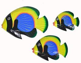 Beautiful Unique Set of 3 BLUE YELLOW GREEN Dory Nemo Fish Wood Wall Art - $35.58
