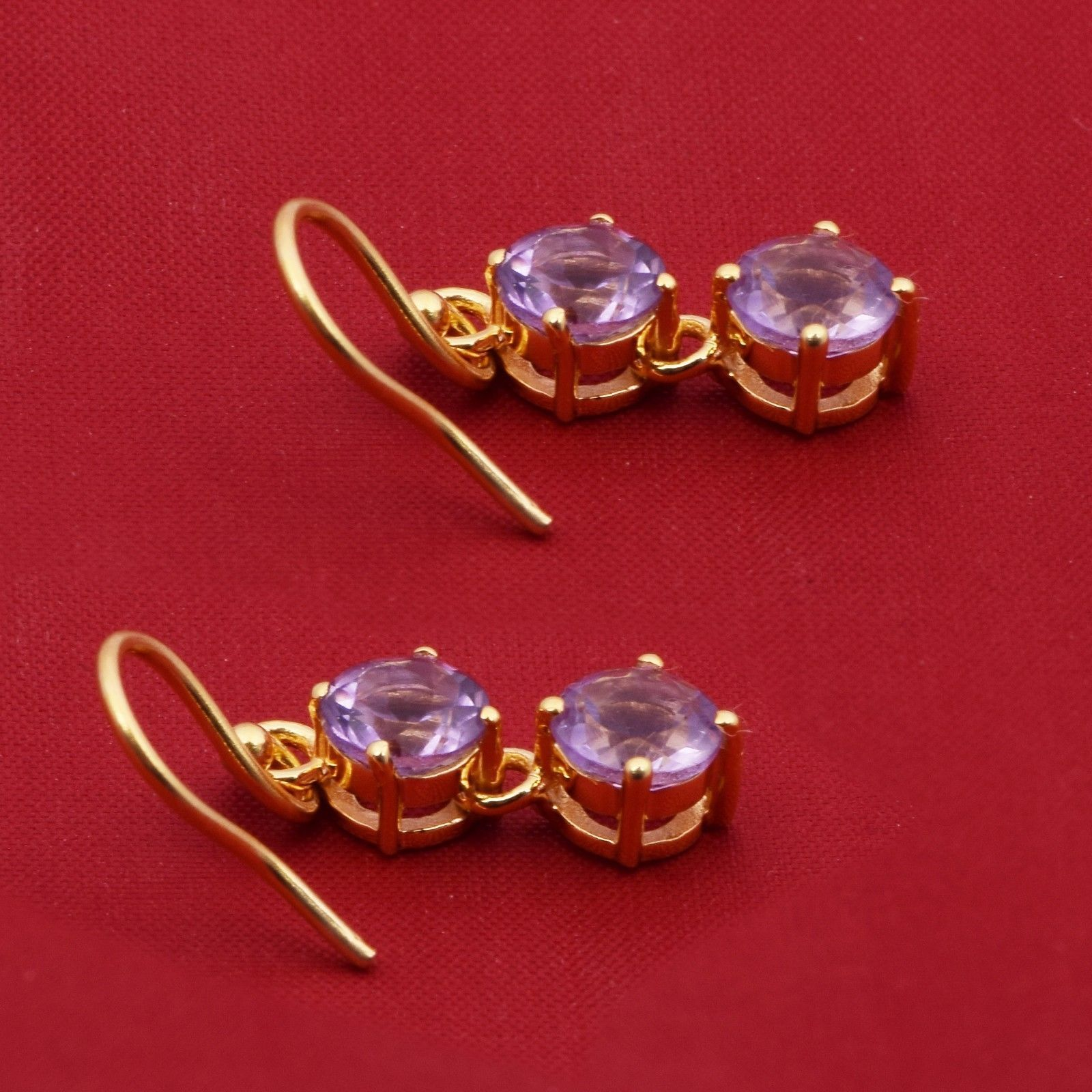 Amethyst Yellow Rhodium 925 Sterling Silver Hook Earring Shine Jewelry SHER0775