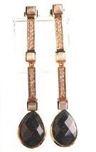 Daniela Swaebe 18K Gold-Plated CZ Crystal & Blue Goldstone Drop Linear Earrings image 3