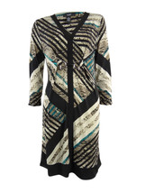Alfani Dress Women's V-Neck Snake Knites Printed Jersey Ruched Sleeves L... - $36.99
