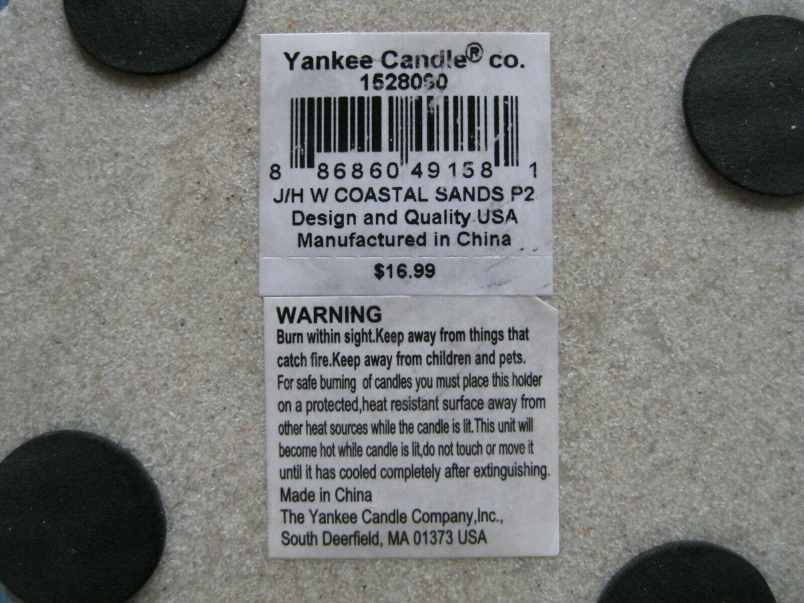 Yankee Candle Beach Shell Coastal Sands Large Candle Holder - NEW With Tags