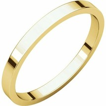 Fine 10k Yellow Gold 2 mm High Polished Flat Wedding Band Ring Size 3-16 - $55.44+