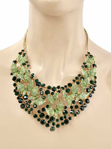 Forest & Light Green Rhinestones Butterfly Evening Bib Necklace Earring ... - $45.60