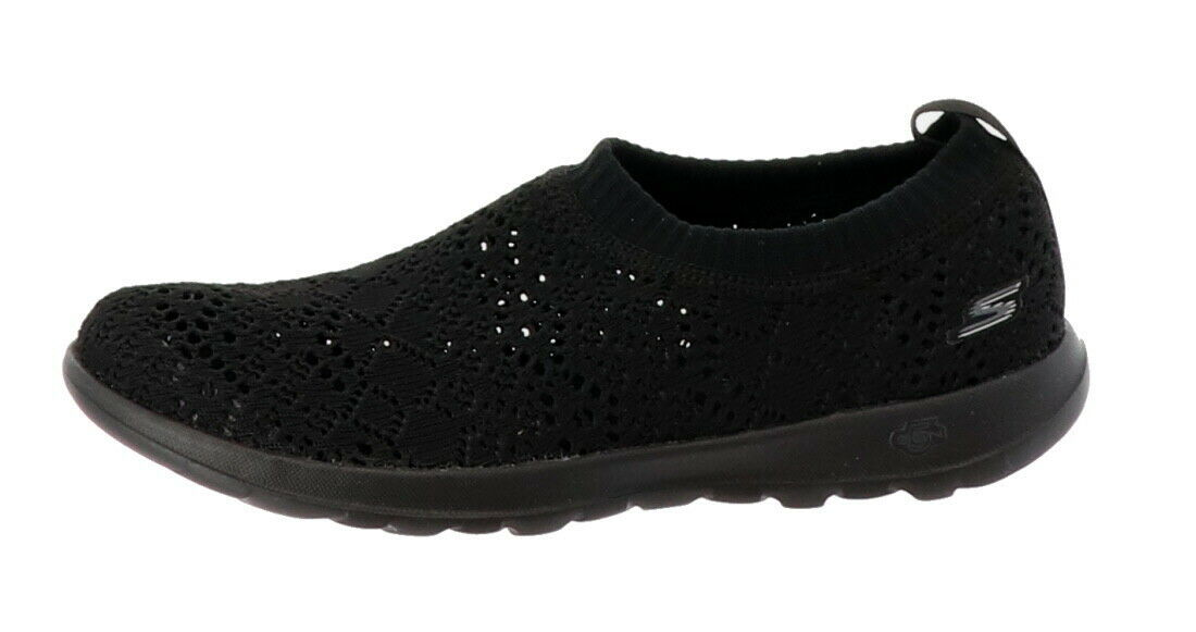 Skechers GO Walk Lite Knitted Slip-On Shoes Harmony Black 6M NEW A308763