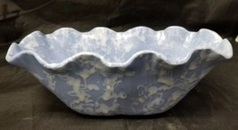 Vtg Shawnee 2505 Oval Bowl Blue & White Ruffled Edge Splatter Planter 9.... - $19.34