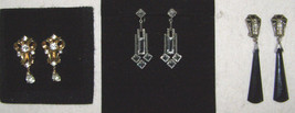 VINT. LOT OF 3, MAZER+MID-CENTURY EARRINGS- DANGLE/DROPS- CRYSTALS+ONYX ... - $38.61